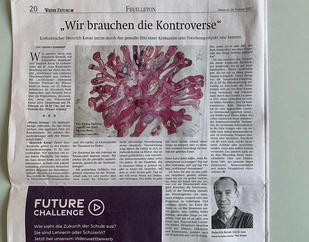 Photograph of the printed newspaper article