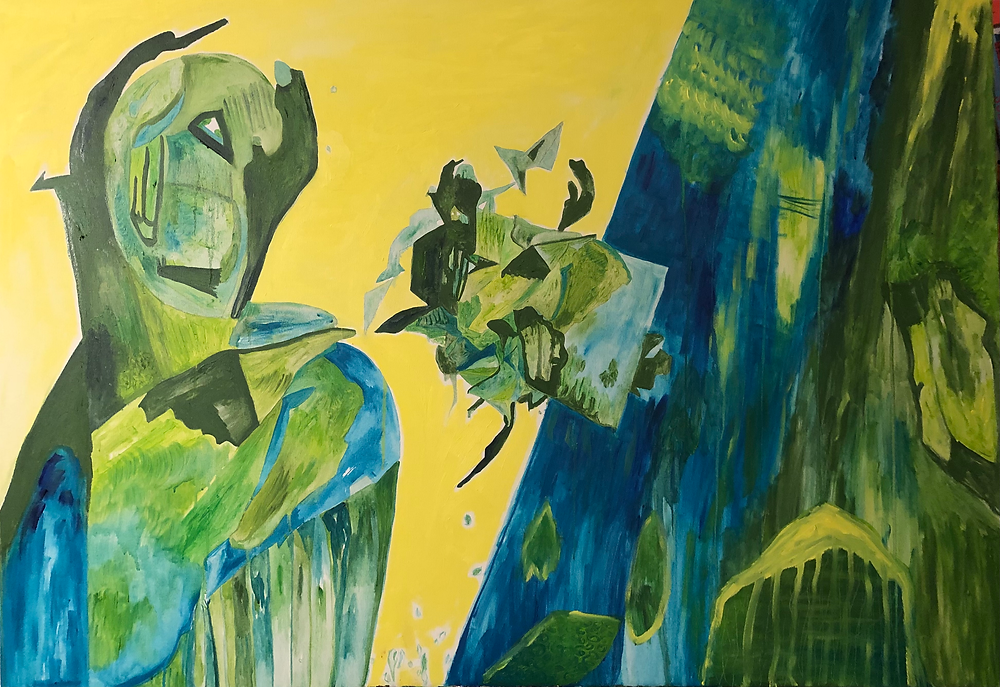 Oil Painting in yellow green and blue