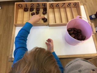 Using the sweet chestnuts from the Harvest Table to teach the concept of zero