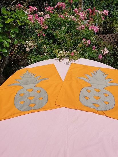 Taie d'oreiller Ananas Orange/Gris