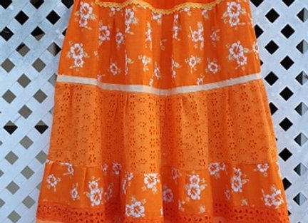 Jupe Fleurie Orange