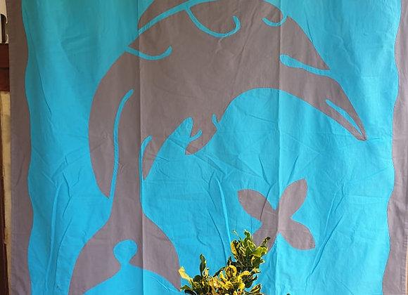 Tifaifai Bébé Traditionnel - Dauphin Bleu/Gris