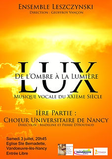 Concert du Choeur Universitaire de Nancy et de l'Ensemble Leszcynski