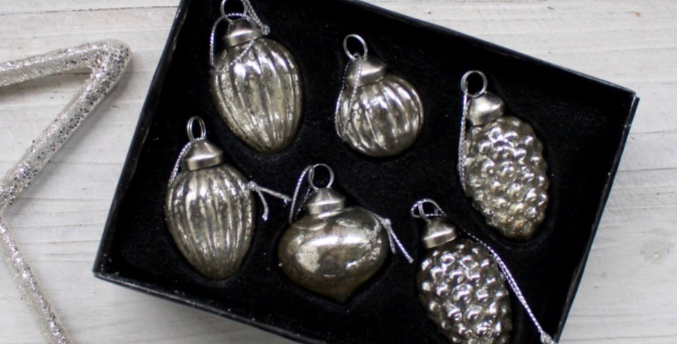Set Of Six Mixed Christmas Tree Decorations