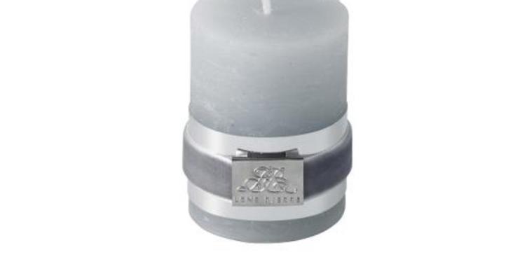 Lene Bjerre Rustic Light Grey Pillar Candle Small