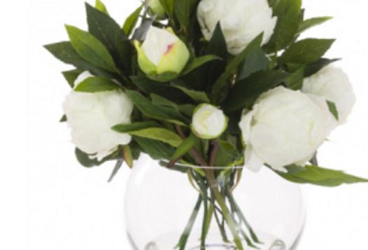 White Peonies In Glass Globe