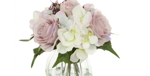Rose & Hydrangea Arrangement In Vase
