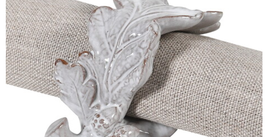 Oak Leaf Napkin Rings - Set Of Four
