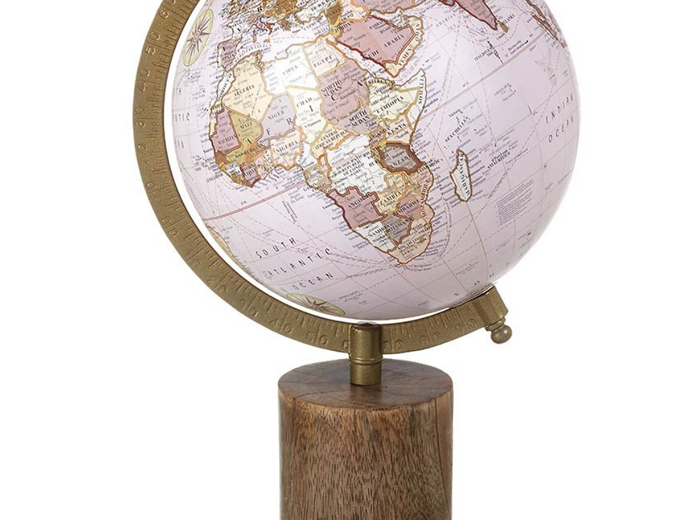 Blush Pink Globe On Wooden Stand