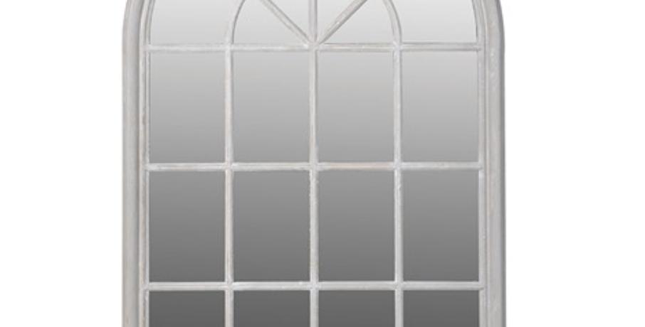 Arched White Window Mirror
