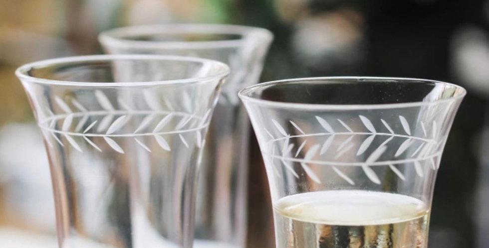 Christina Circle Leaf Champagne Flutes