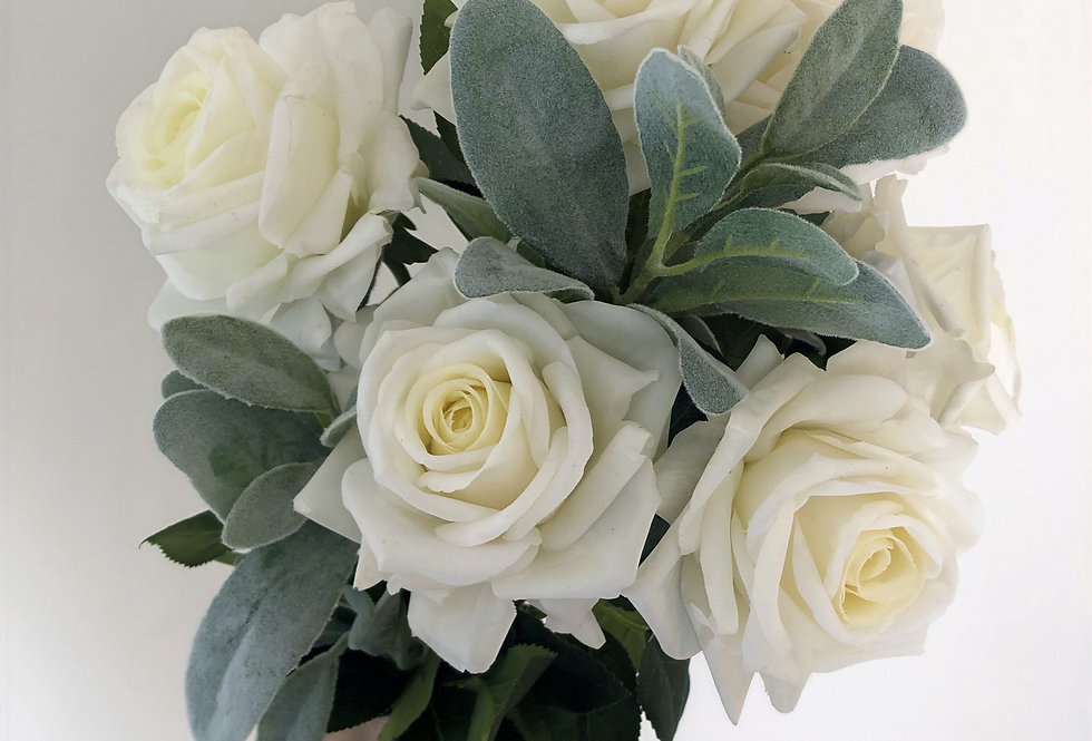 White Rose and Lambs Ear Bouquet