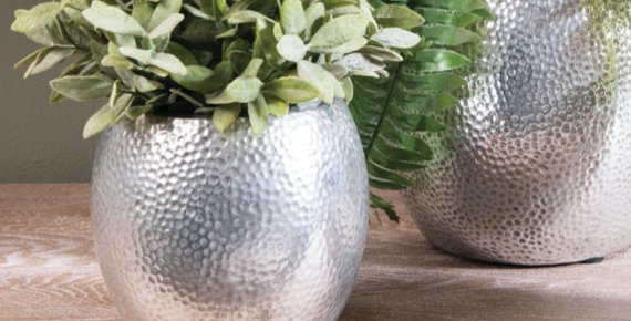 Birkdale Small Hammered Planter in Silver Finish