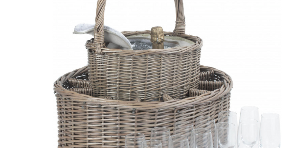 Garden Party Wicker Wine Basket