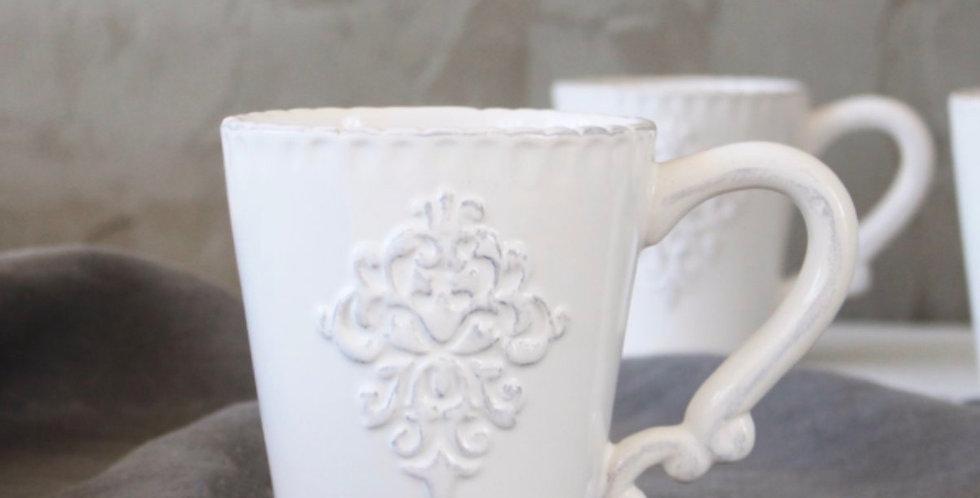 White Monogram Mugs - Set Of Two