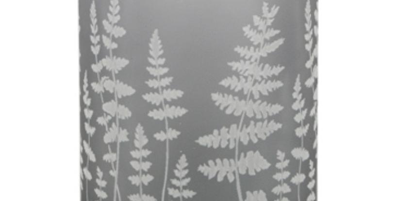 Grey Glass Etched Fern T-Lite Holder
