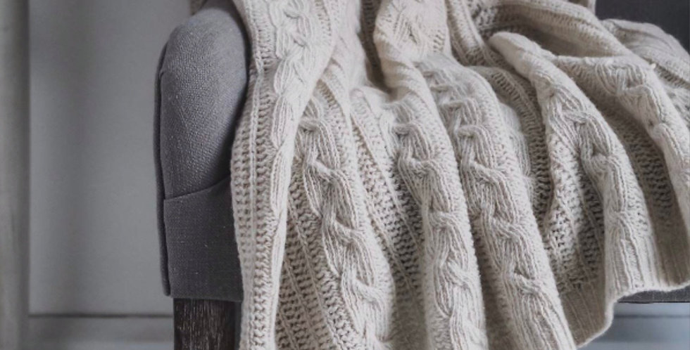 Wool Rich Off White Cable Throw