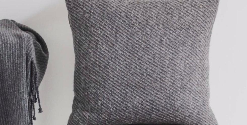 Wool Rich Steel Grey Ribbed Cushion