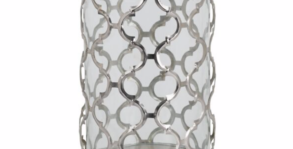 Large Polished Nickel Arabesque Candle Holder