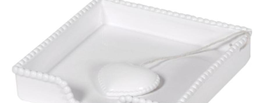 White Napkin Tray with Heart
