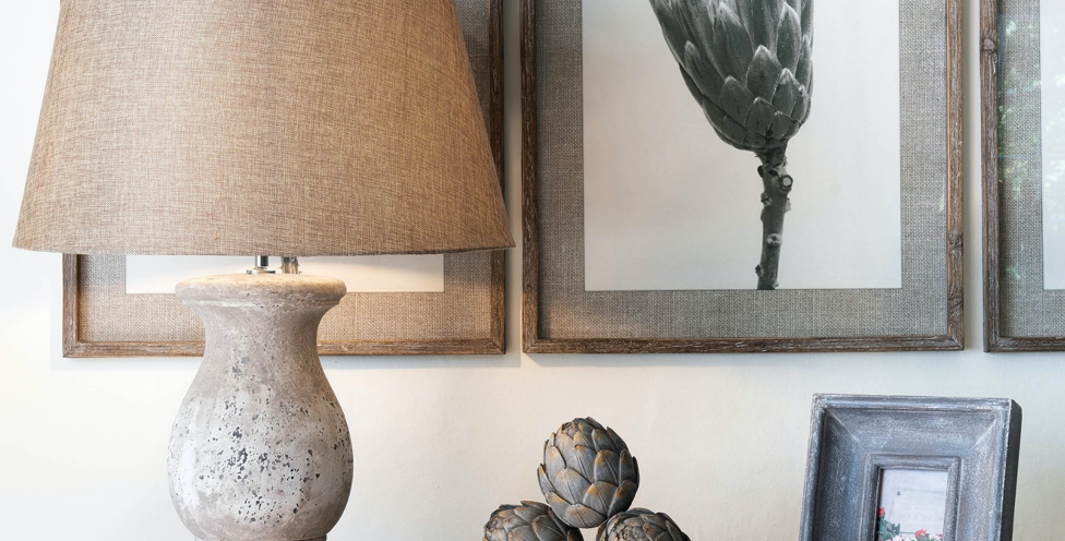 Birkdale Stone Lamp With Linen Shade