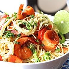 Succulent Shrimp & Tuna Over Angel Hair Pasta