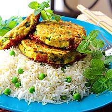 Vegetarian Baked Falafel with Veggies & Rice