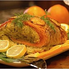 Grilled Atlantic Salmon + Rice, Pasta or Salad