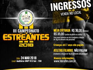 Ingressos III Campeonato Estreantes IFBBDF
