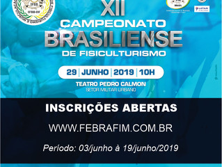 INSCRIÇÃO XII CAMPEONATO BRASILIENSE 2019