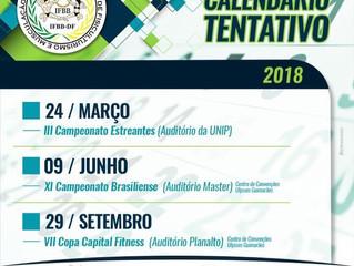 Calendário de competições 2018