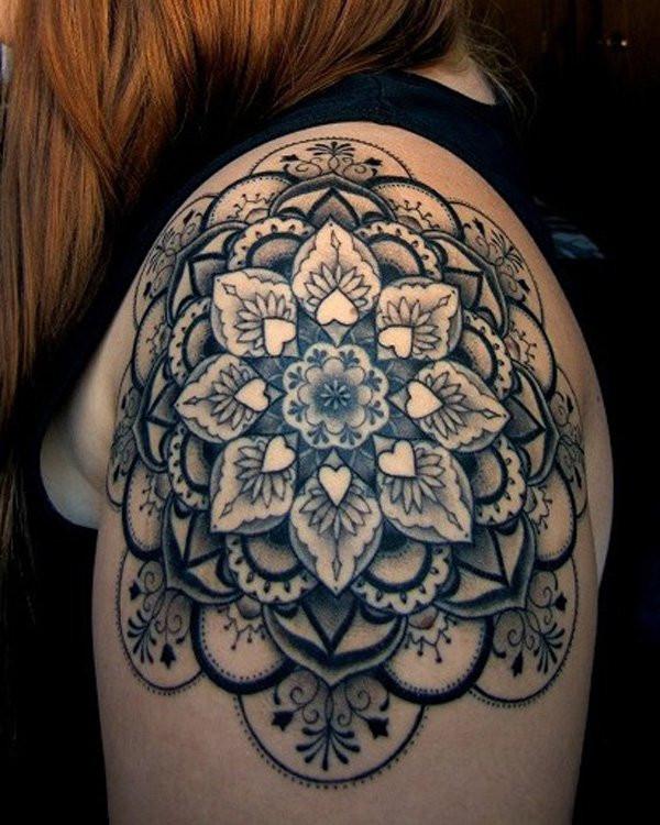 Geometric Floral Pattern Shoulder Tattoo