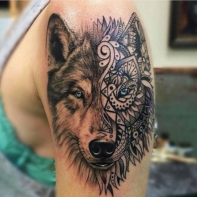 Two-face wolf tattoo
