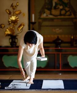 世界遺産 醍醐寺にて席上揮毫