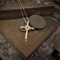 Emerald & Diamonds Cross