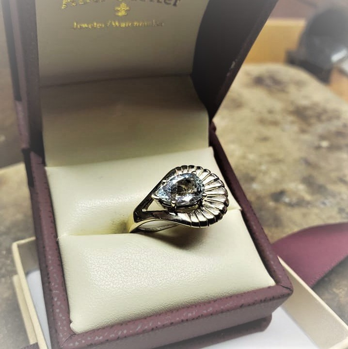 1.90ct Pear Aquamarine Retro