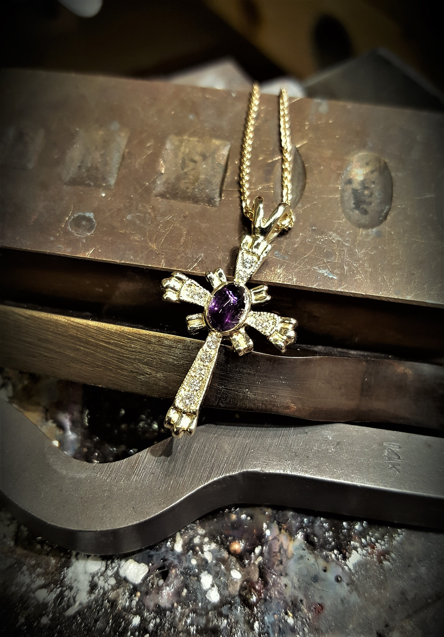 Amethyst & Diamond Cross