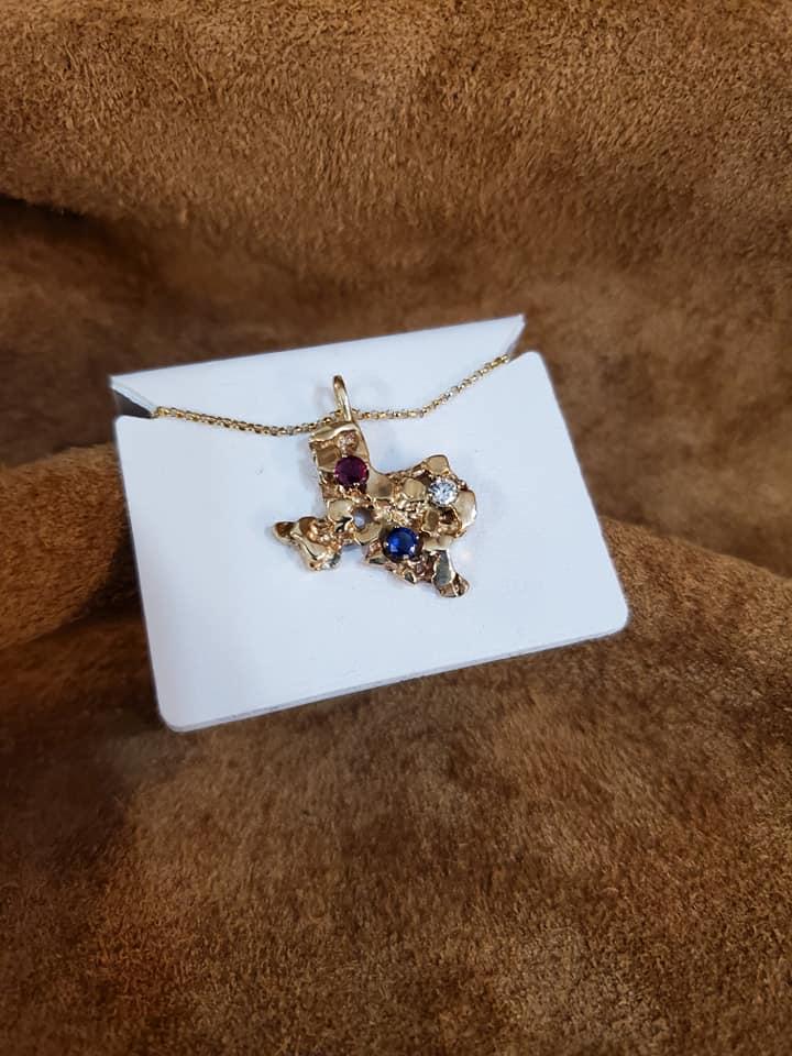 State of Texas Pendant Ruby Sapphire Diamond