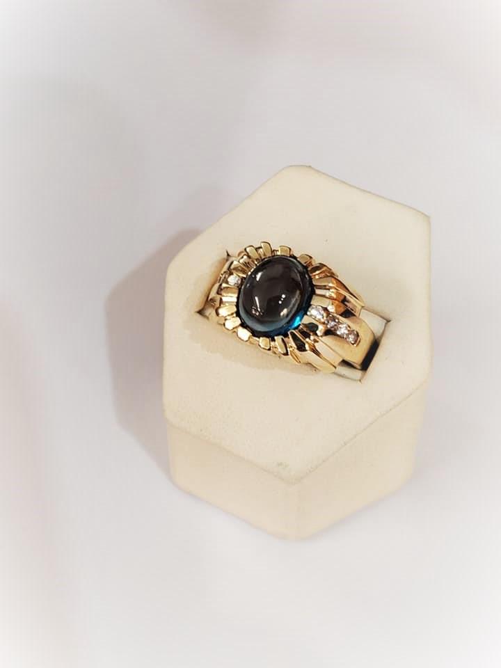 London Blue Topaz Cabochon .15ctw Diamonds