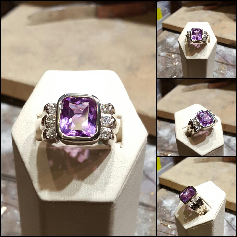 8.36ct Chatham Sapphire & Diamonds