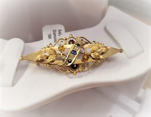 Antique Sapphire Diamond Pin