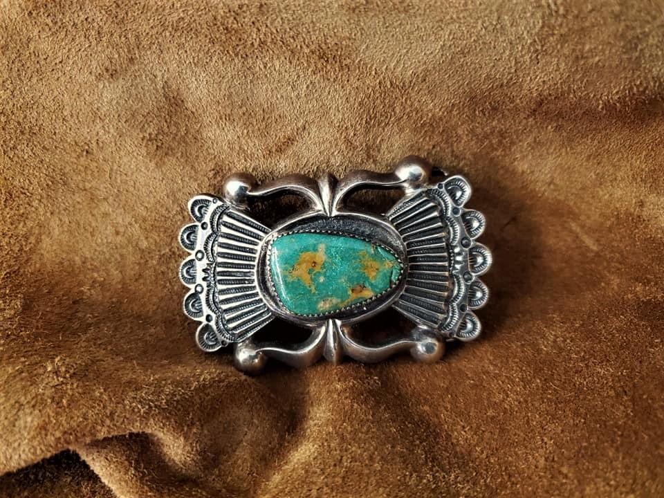 Navajo Wilfred B Henry Tufa Belt Buckle
