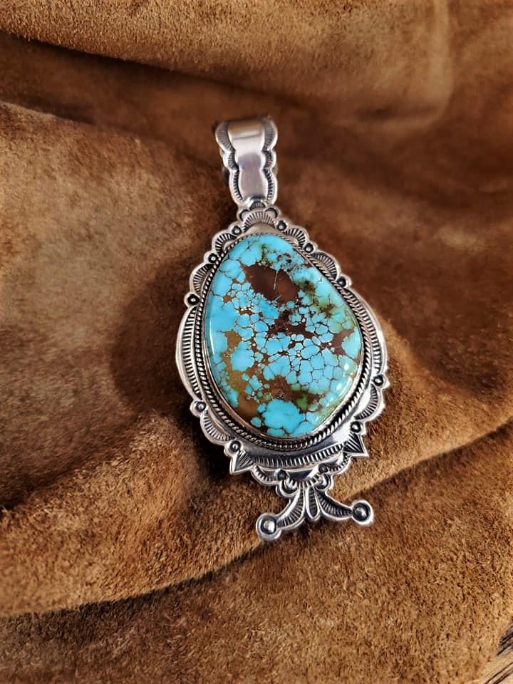 Navajo Raymond Cortiz Turquoise Pendant