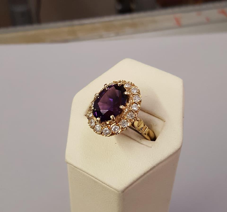 Vintage Amethyst .50ctw Diamond