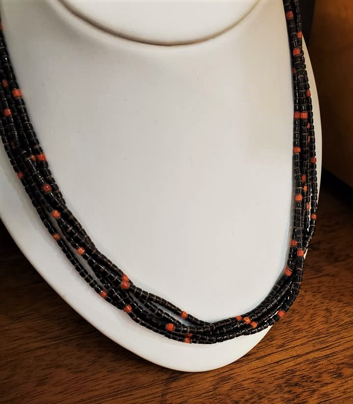 Shell Heishi Coral Bead Necklace