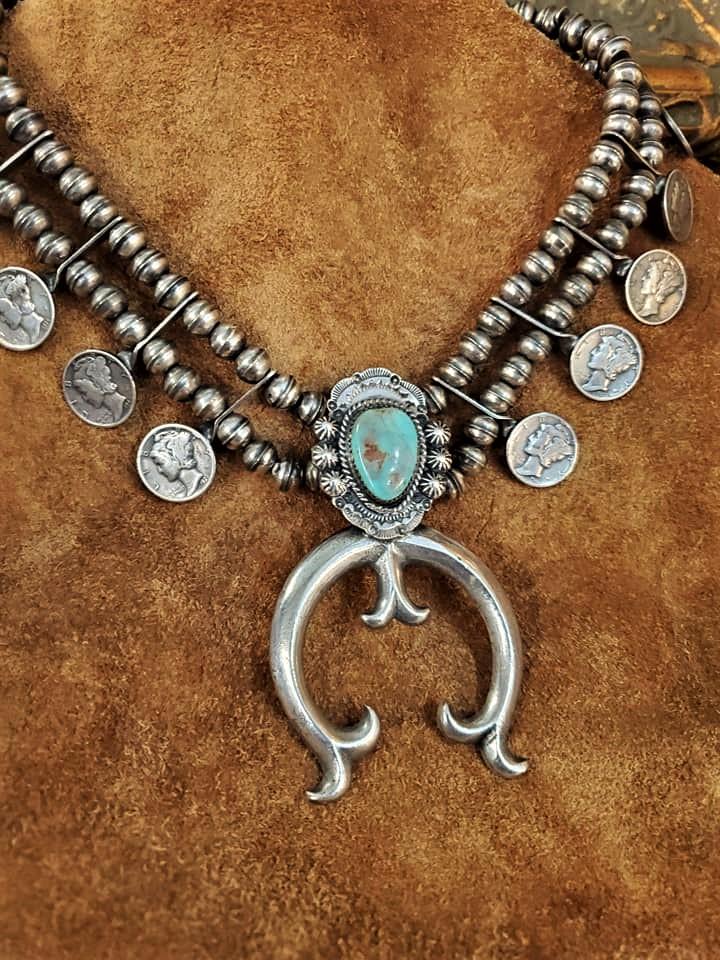 Vintage Mercury Dime Squash Blossom Necklace