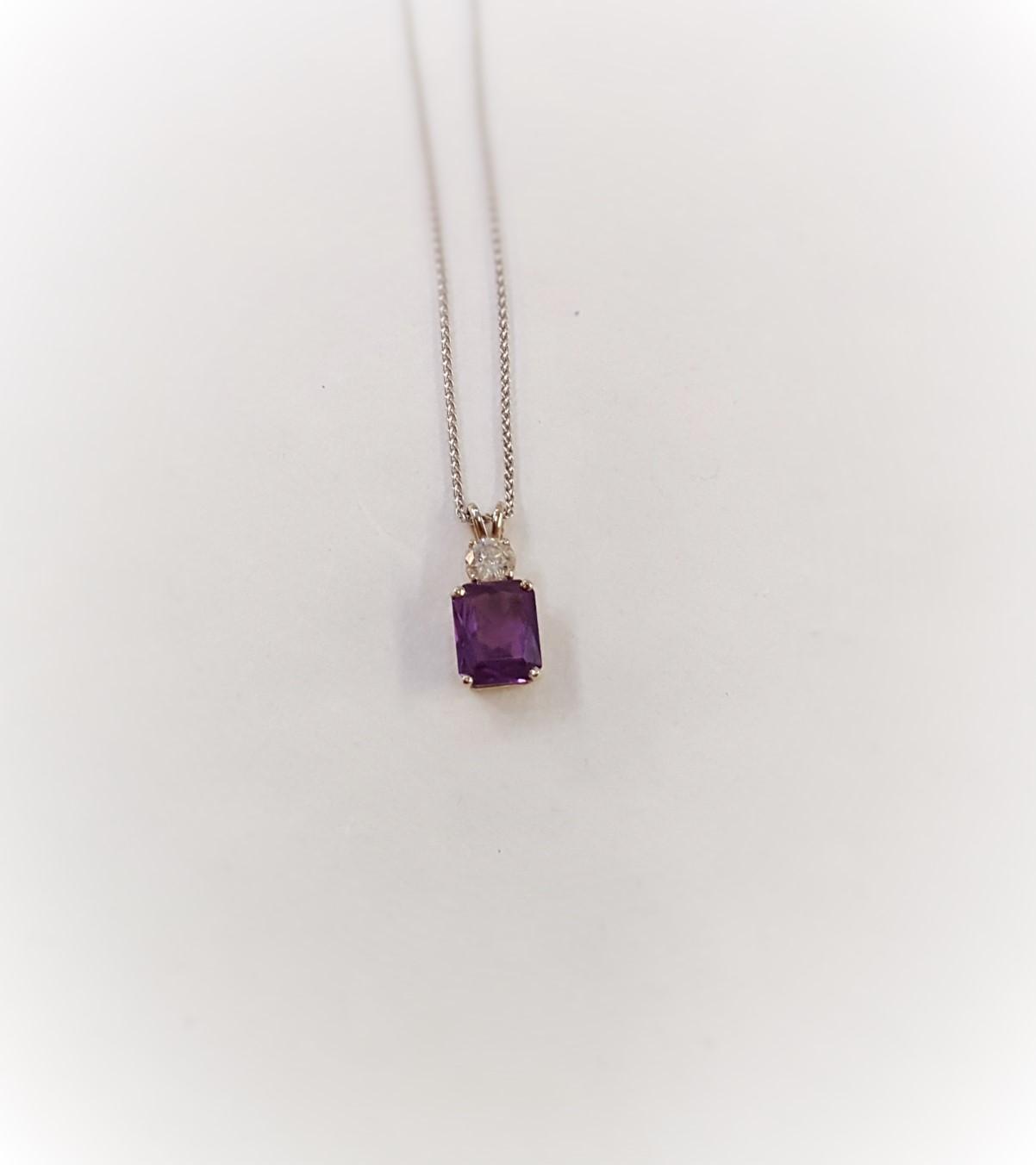 Purple Sapphire & Diamond Pendant