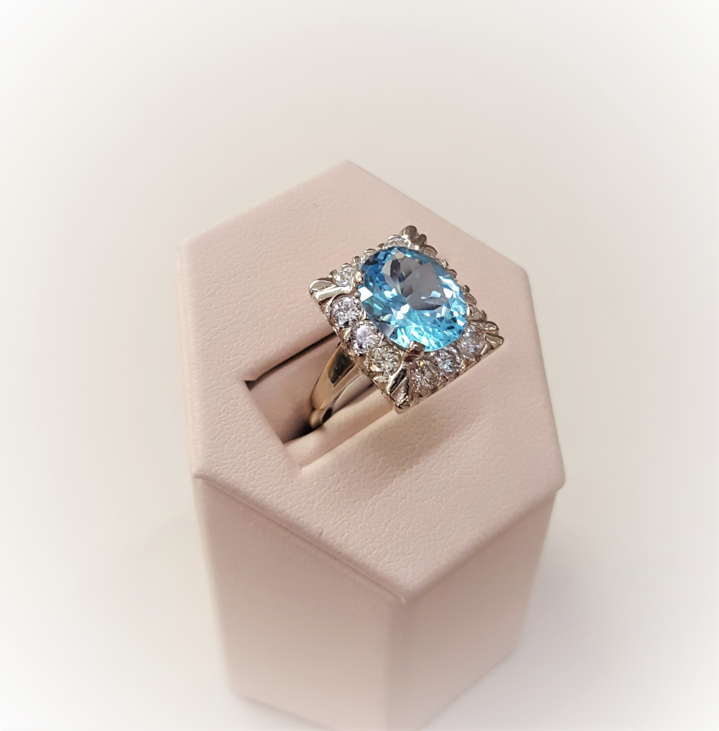 Blue Topaz with 1.04ctw Diamonds