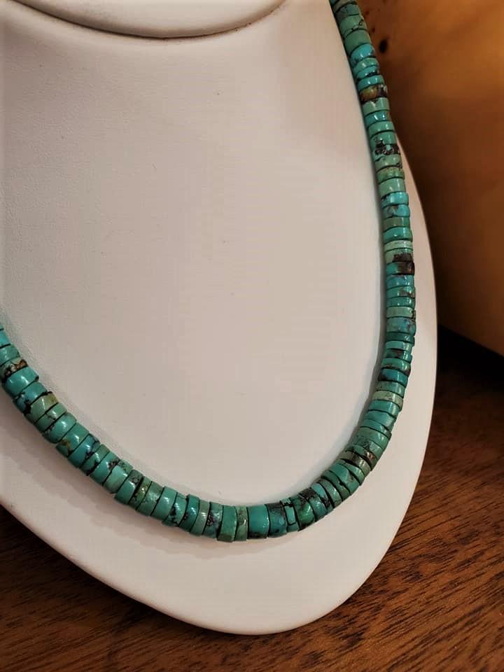 """22"""" Turquoise Heishi Bead Necklace"""