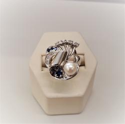 Pearl .26ctw Sapphire .30ctw Diamond